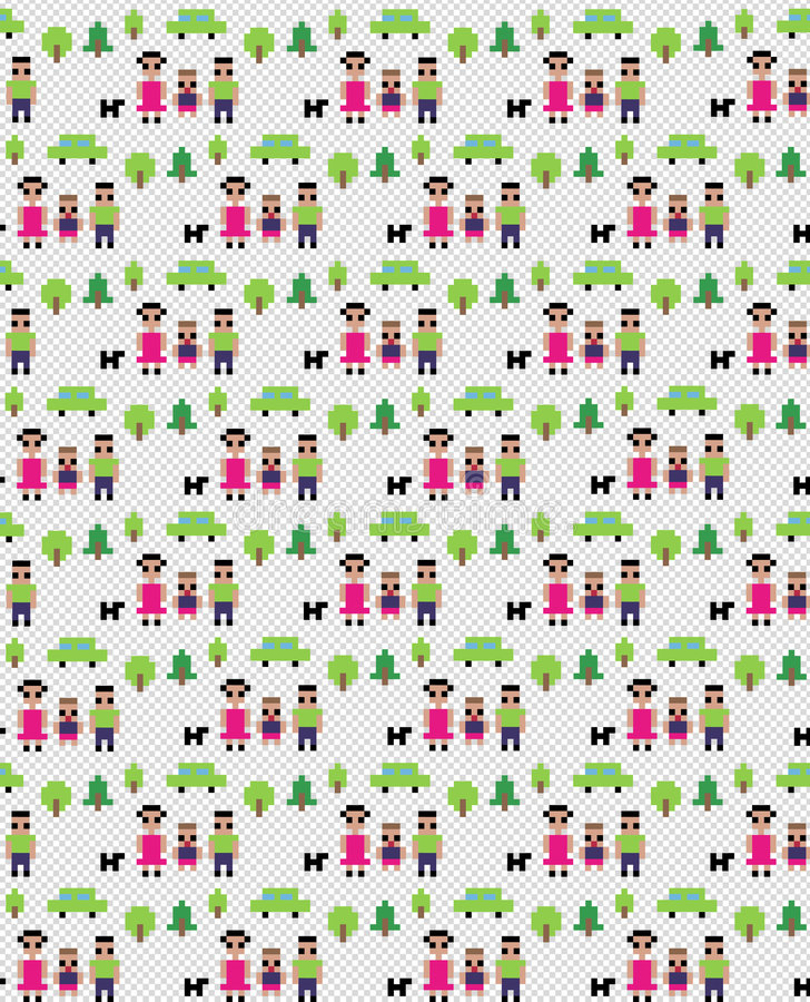 Pixel family pattern royalty free illustration