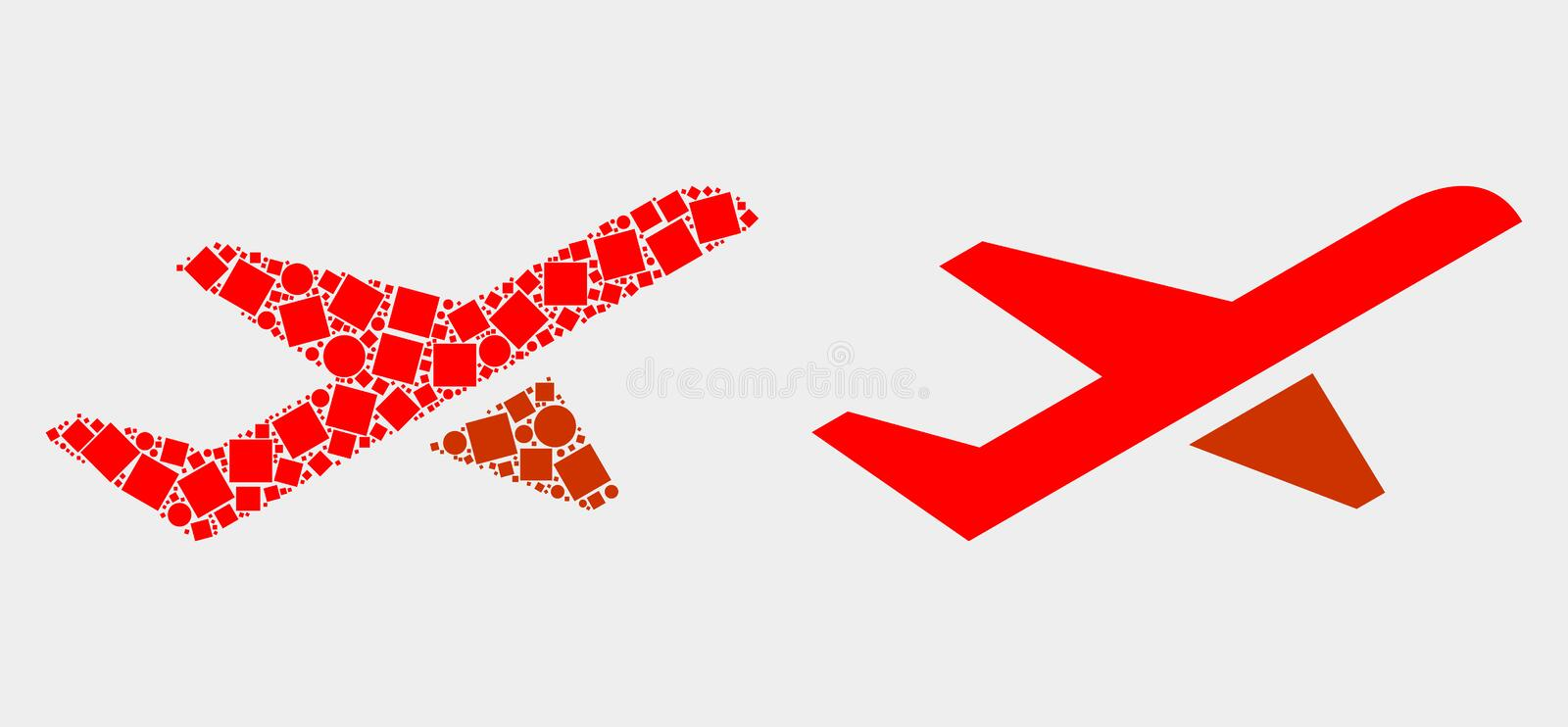 Dot and Flat Vector Airplane Takeoff Icon. Pixel and flat airplane takeoff icons. Vector mosaic of airplane takeoff combined of random square elements and circle stock illustration