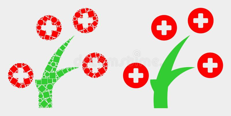 Pixelated and Flat Vector Medical Tree Icon. Pixel and flat medical tree icons. Vector mosaic of medical tree organized of scattered square pixels and circle stock illustration