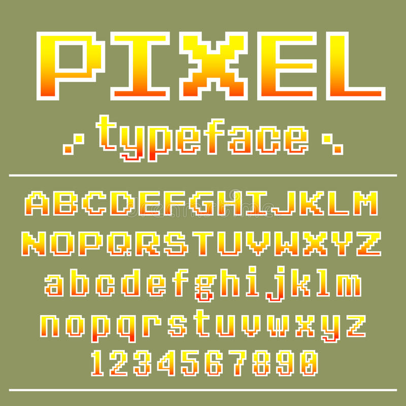 Pixel Font, 8 Bit Typeface For Retro Games Design Stock