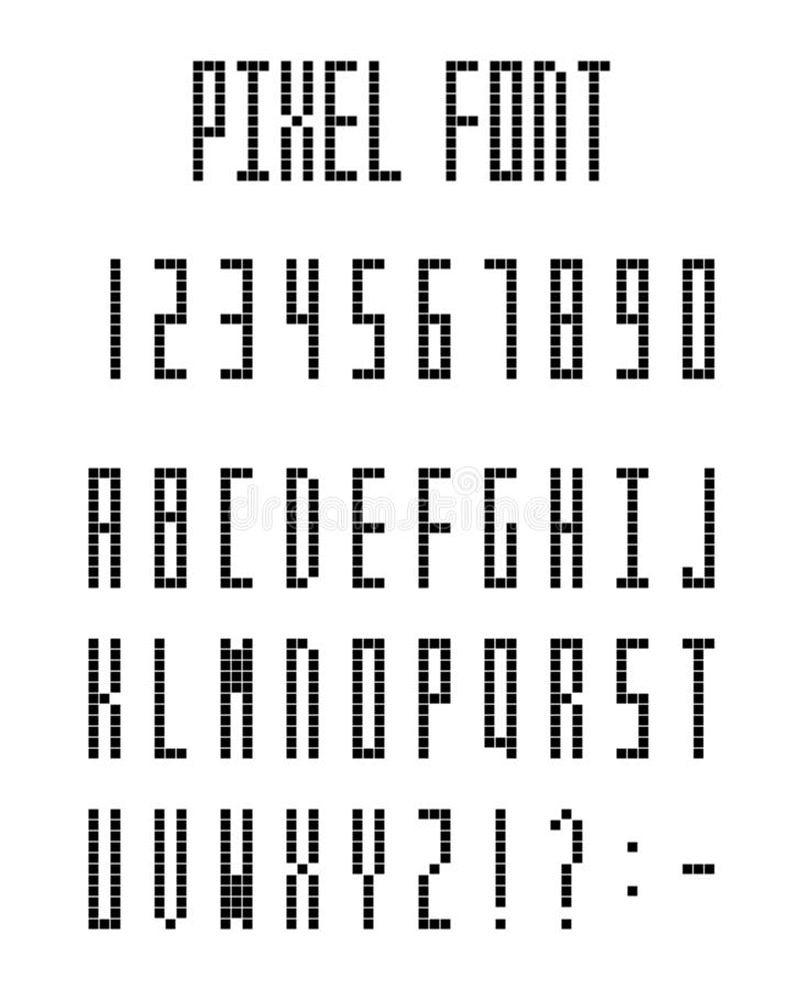 Pixel Game Font Retro Styled Stock Vector
