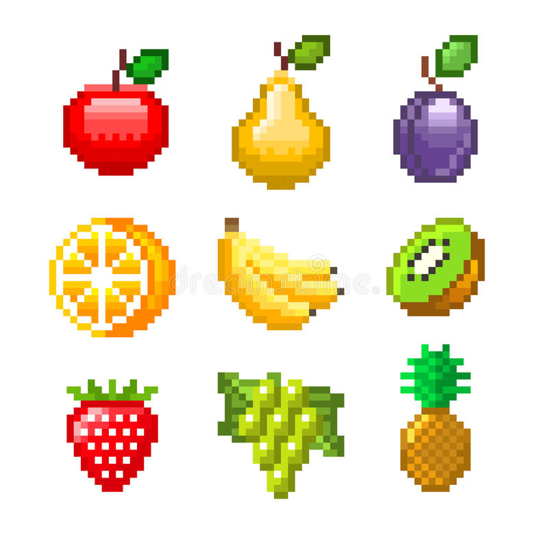 Pixel Fruits For Games Icons Vector Set Stock Vector