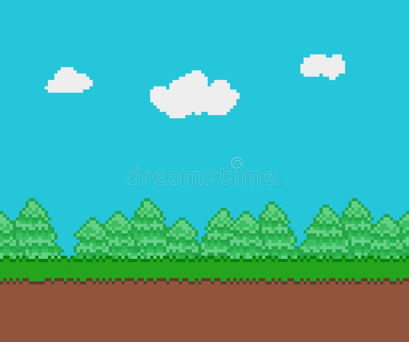 Pixel Game Background Stock Vector. Illustration Of