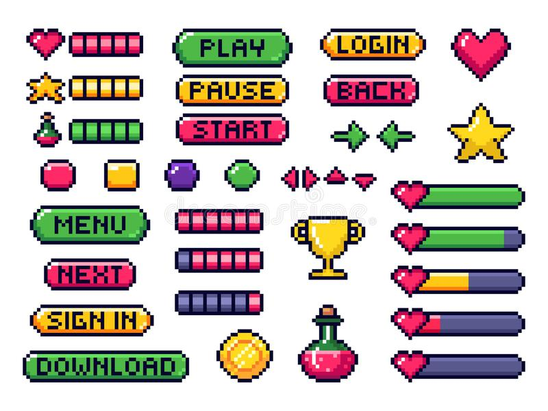 Pixel game buttons. Games UI, gaming controller arrows and 8 bit pixels button vector set vector illustration