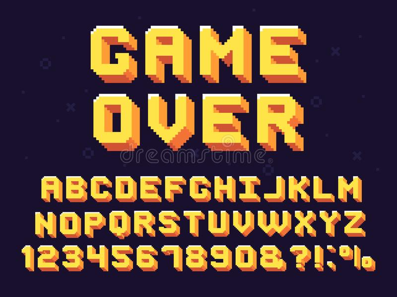 Pixel game font. Retro games text, 90s gaming alphabet and 8 bit computer graphic letters vector set stock illustration