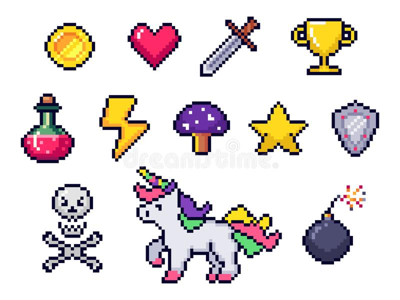 Pixel game items. Retro 8 bit games art, pixelated heart and star icon. Gaming pixels icons vector set stock illustration