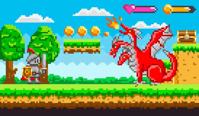 Pixel Game With Dragon and Knight Fighting Vector royalty free illustration