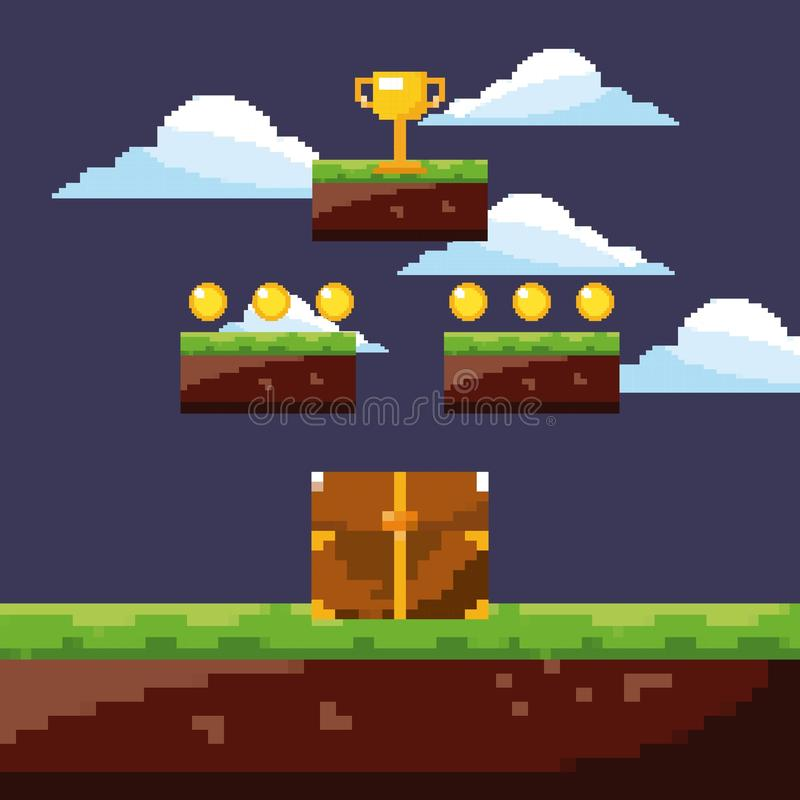 Pixel game night scene chest treasure and gold trophy coins vector illustration