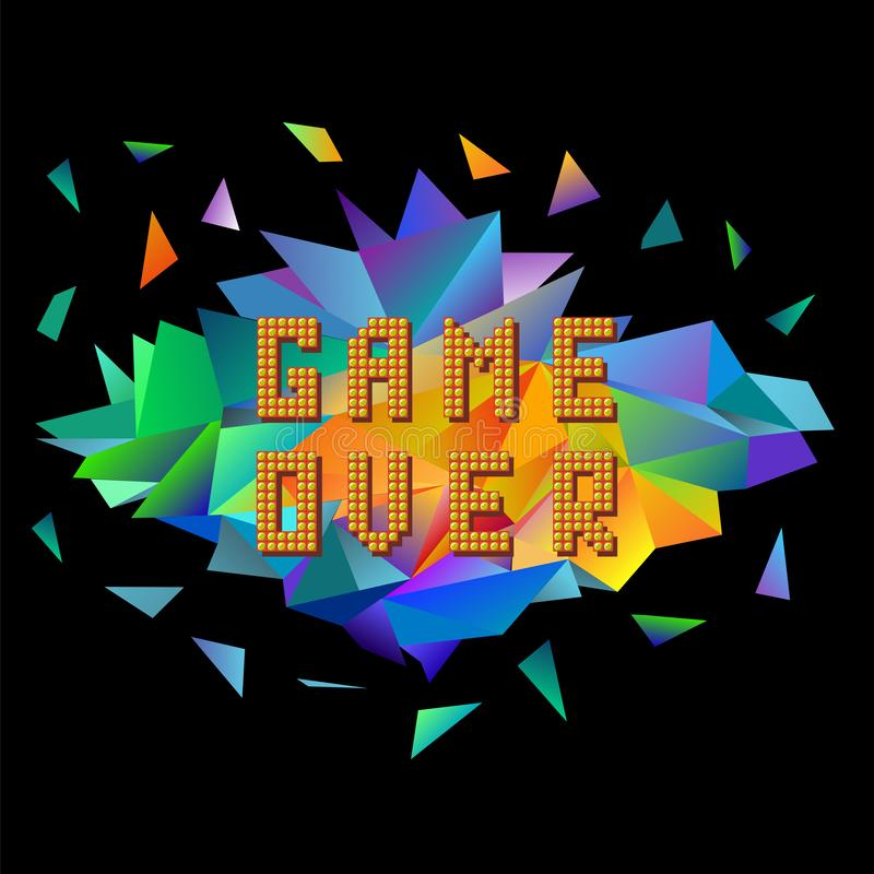 Pixel Game Over on Colorful Polygonal Banner. Gaming Concept. Colored Explosion with Parts. Video Game Screen. Retro Pixel Game Over on Colorful Polygonal vector illustration