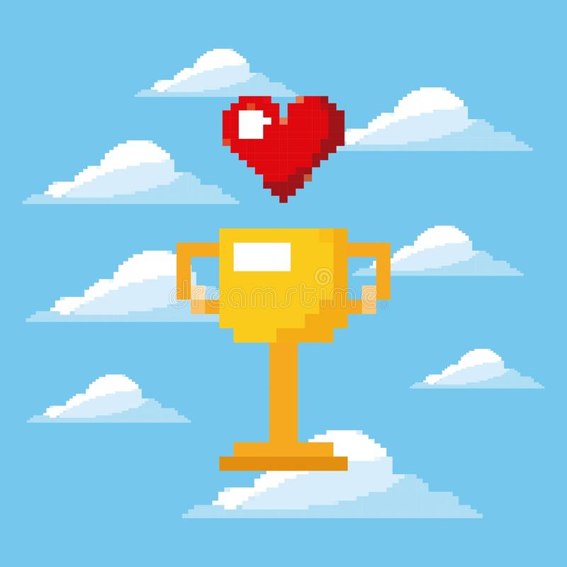 Pixel game trophy and heart life prize play royalty free illustration