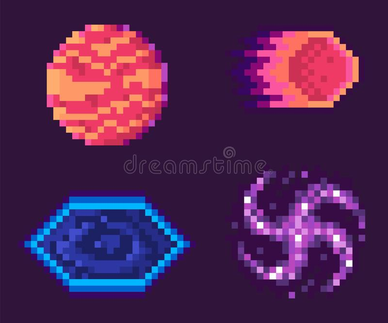 Pixel Game Icons, Planets Space Celestial Bodies stock illustration