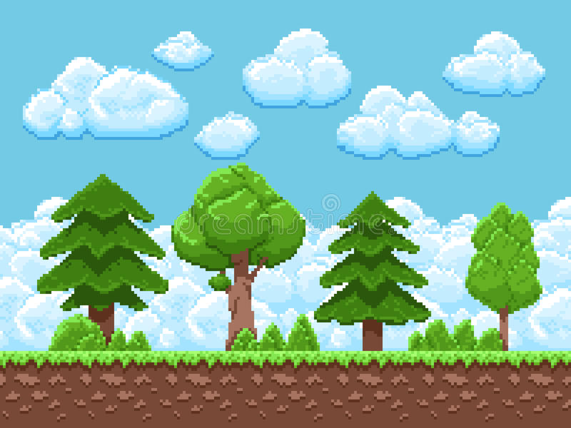 Pixel game vector landscape with trees, sky and clouds for 8 bit vintage arcade game. Landscape game scene interface illustration royalty free illustration
