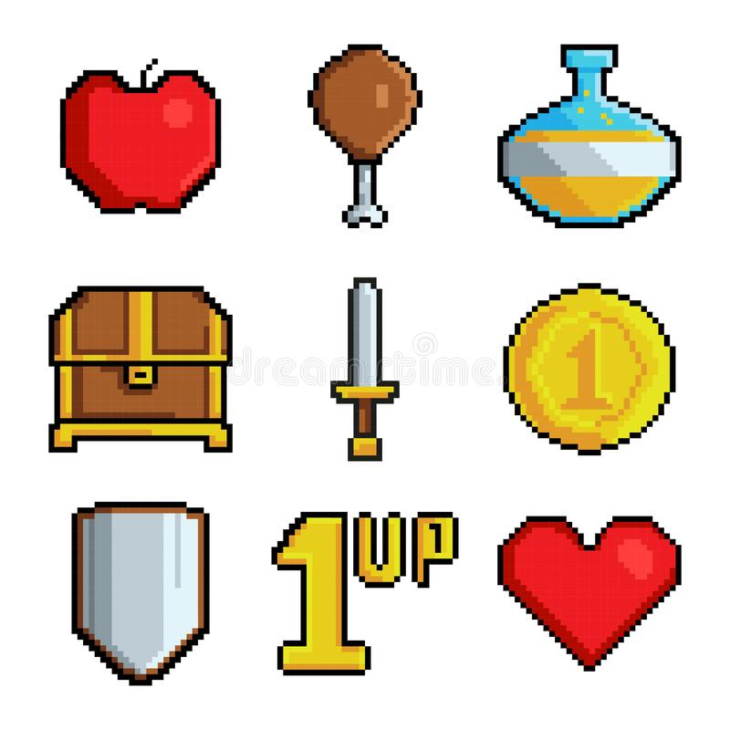 Pixel games icons. Various stylized symbols for video games stock illustration