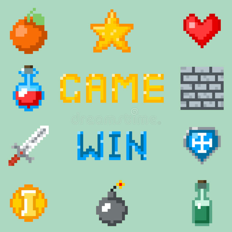 Pixel games icons for web, app or video game interface. Object for game heart bottle and fruit, set of gaming pixel objects. Vector illustration stock illustration