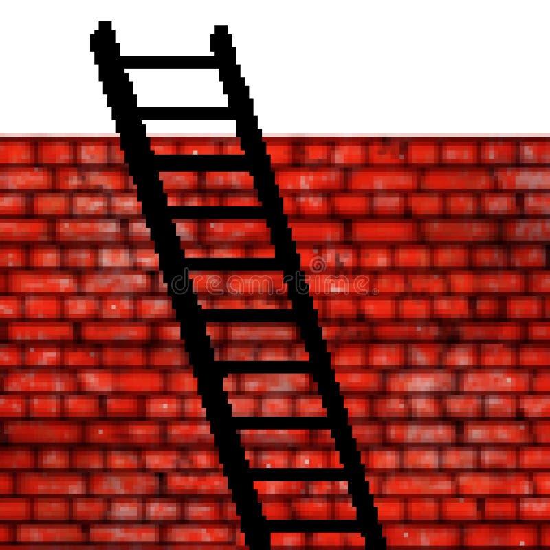 Pixel getrokken bakstenen muur met 8 bits met een ladder die op het leunen stock afbeeldingen