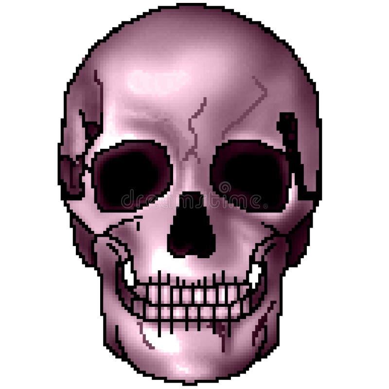 Pixel getrokken kleurrijke in de schaduw gestelde het grijnzen schedel met 8 bits royalty-vrije stock afbeelding
