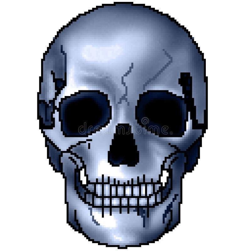 Pixel getrokken kleurrijke in de schaduw gestelde het grijnzen schedel met 8 bits stock foto