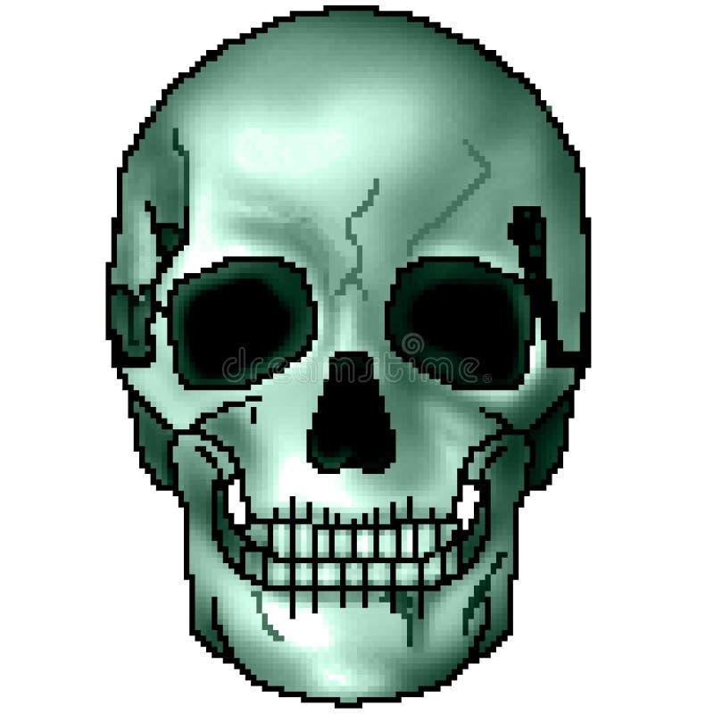 Pixel getrokken kleurrijke in de schaduw gestelde het grijnzen schedel met 8 bits royalty-vrije stock fotografie