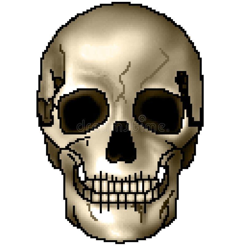 Pixel getrokken kleurrijke in de schaduw gestelde het grijnzen schedel met 8 bits stock afbeelding