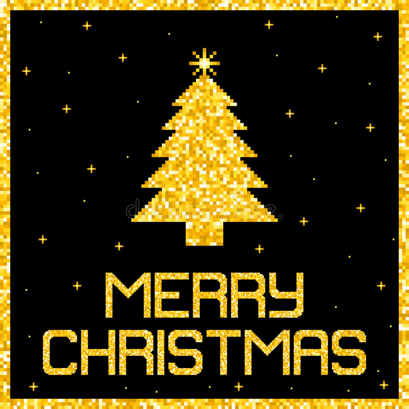 Pixel Gold Glitter Christmas Card. EPS8 Vector. Without transparency or gradients vector illustration
