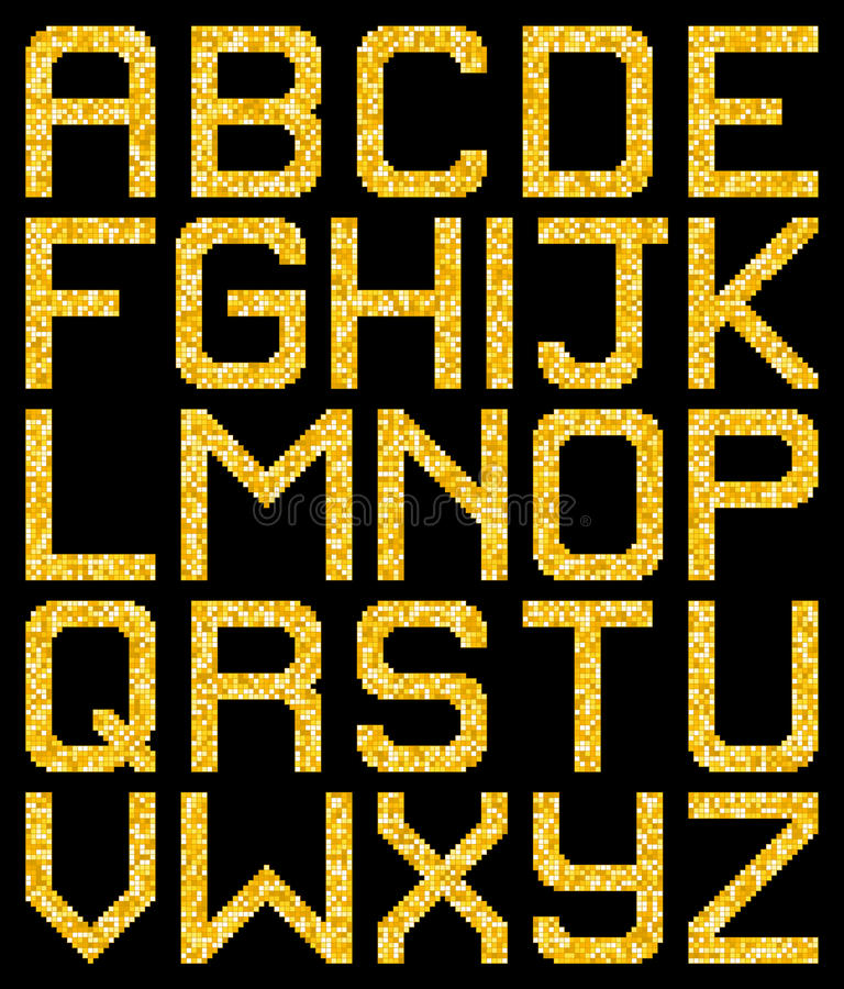 Download Pixel Gold Glitter A-Z Letters. EPS8 Vector Stock Vector - Illustration of gold, sparkle: 61430454