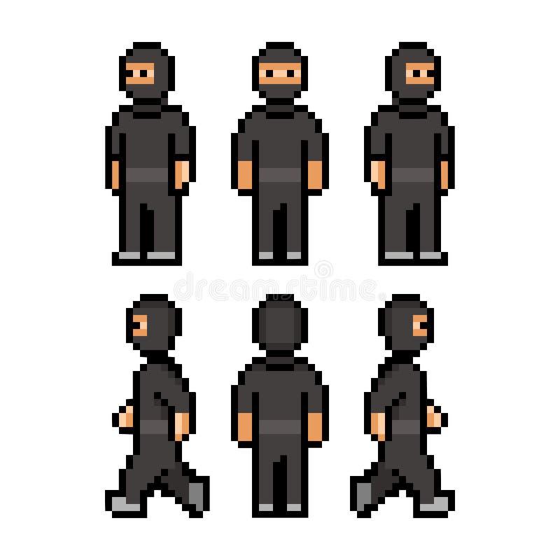 Pixel grappige zwarte ninja vector illustratie