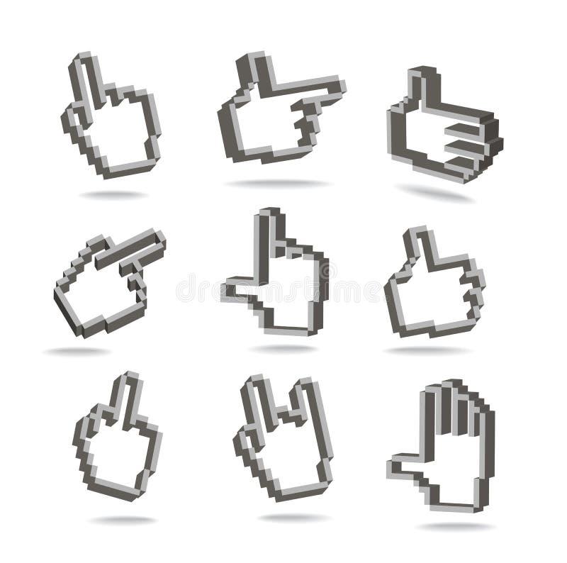 pixel hand cursors seamless pattern stock vector