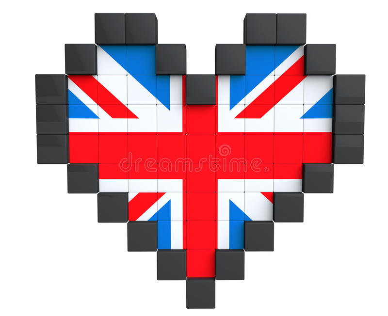 Pixel Heart As United Kingdom Flag Stock Illustration