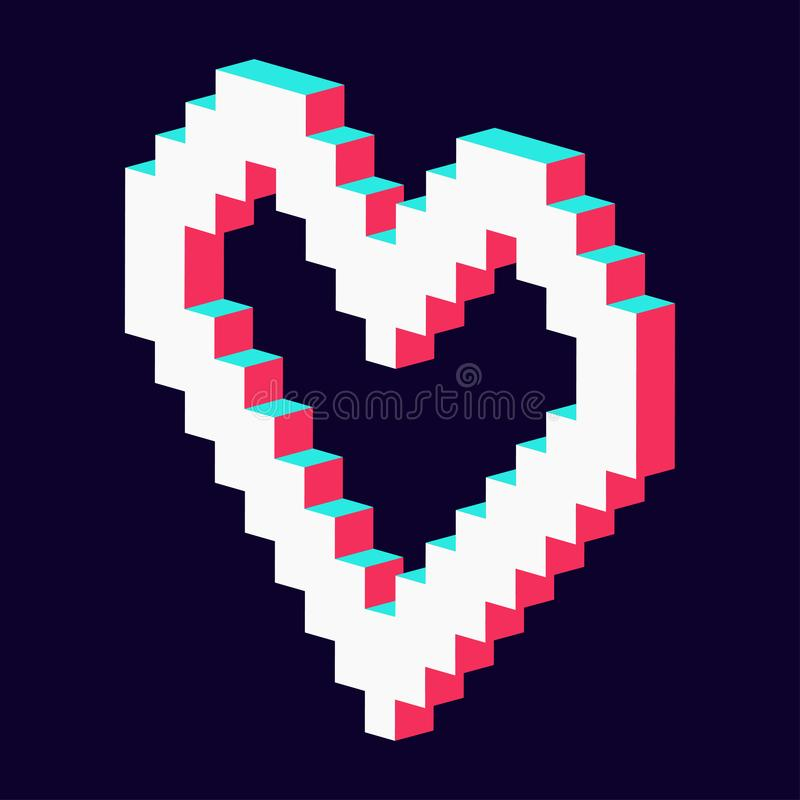 Pixel heart made 3d blue red white royalty free illustration