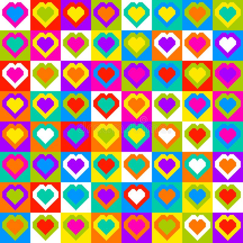 Pixel Heart Pattern Seamless Background. Randomly colored pixel-art hearts in a seamless tile grid pattern. Each heart is a separate shape royalty free illustration
