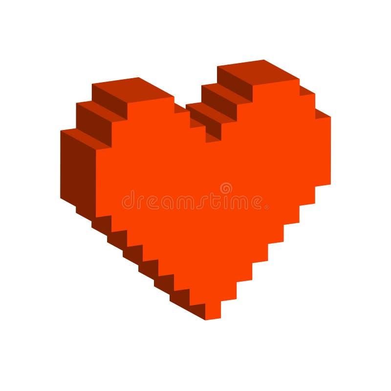 Pixel Heart Symbol Flat Isometric Icon Or Logo Stock Vector