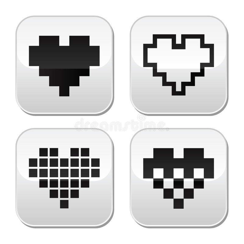 Download Pixel Heart Vector Buttons Set - Love, Dating Online Concept Stock Vector - Illustration: 37529409