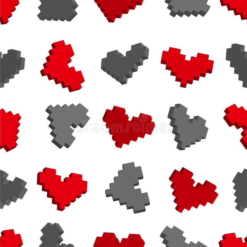 Download Pixel Hearts Seamless Background Pattern Stock Images - Image: 25198254