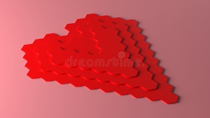 Pixel honeycomb pattern red heart shape, 3D rendering. Computer generated illustration of pixel honeycomb pattern red heart shape, 3D rendering vector illustration