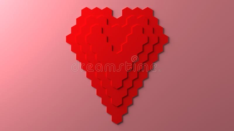 Pixel honeycomb pattern red heart shape, 3D rendering. Computer generated illustration of pixel honeycomb pattern red heart shape, 3D rendering royalty free illustration