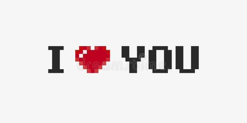 Pixel I Love You. Pixel art I love you phrase with 8-bit heart on light background vector illustration