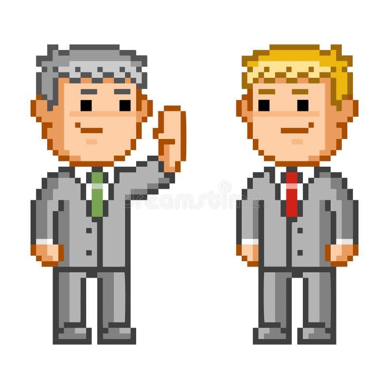 Pixel icon business negotiation. Vector businessman. Isolated illustration stock illustration