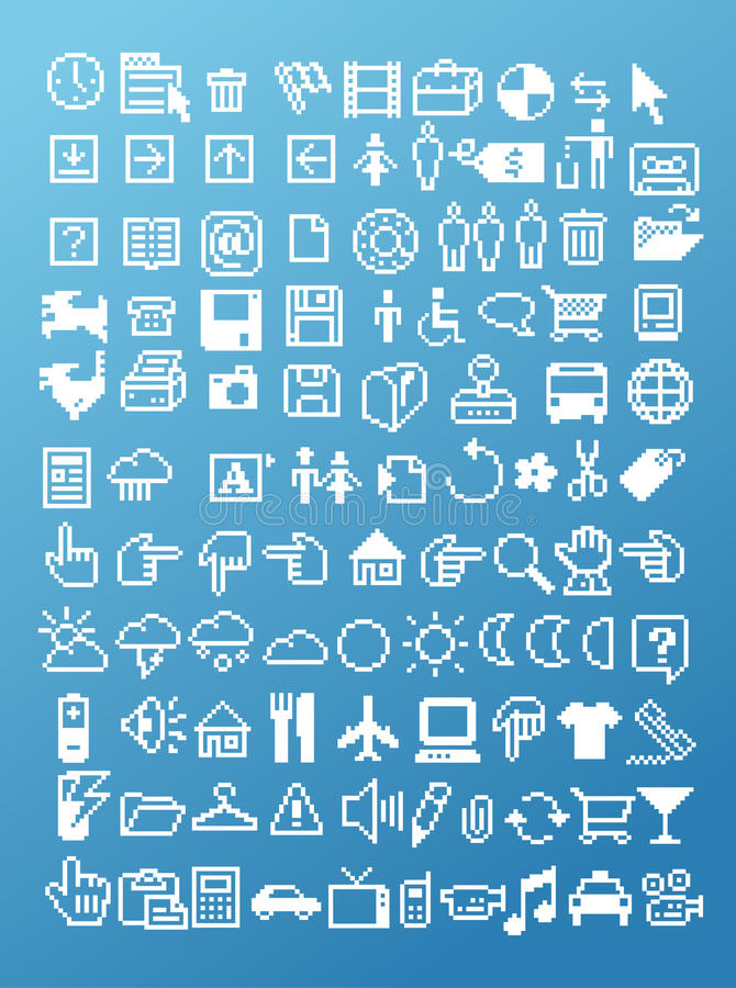 Pixel icon set. Illustration vector royalty free illustration