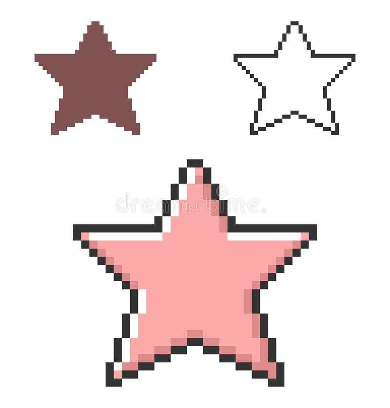 Pixel icon of star. In three variants. Fully editable royalty free illustration