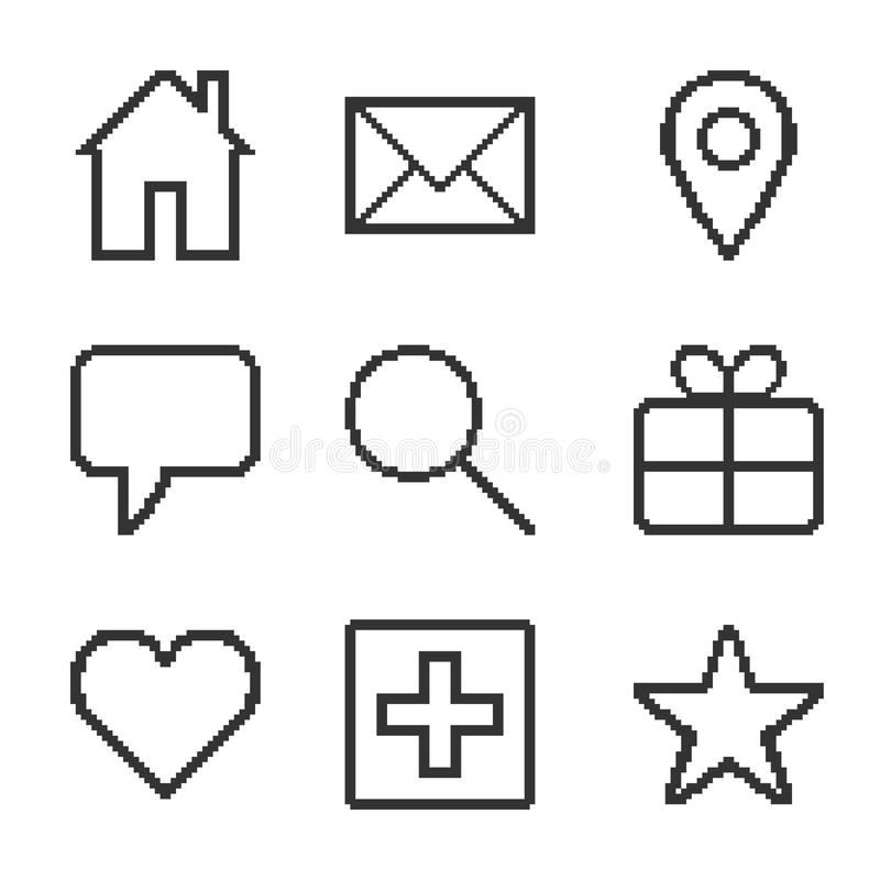 Pixel icons for the site. Set of pixel icons for the site. Vector illustration stock illustration