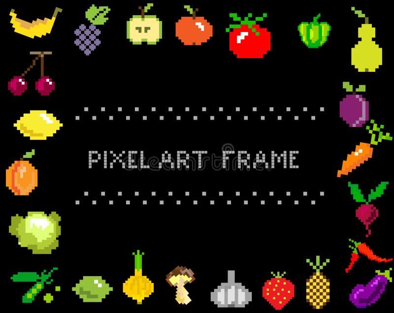 PIXEL-konst frukt och grönsaker på svart ram royaltyfri illustrationer