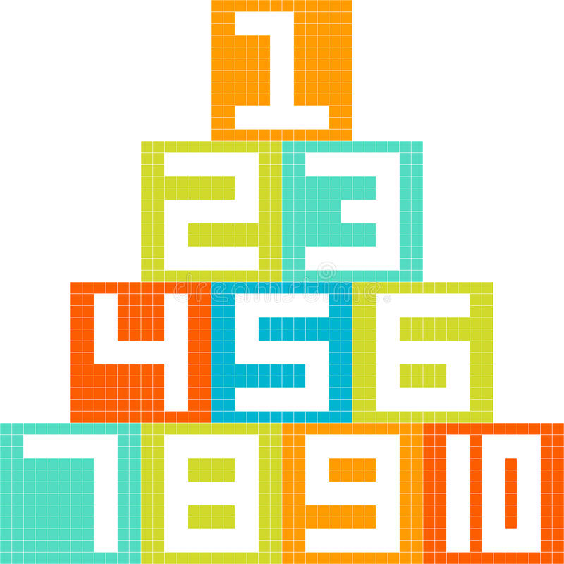 pixel-Kunst met 8 bits Nummer 1-10 Blokken die in een Piramide worden geschikt royalty-vrije illustratie