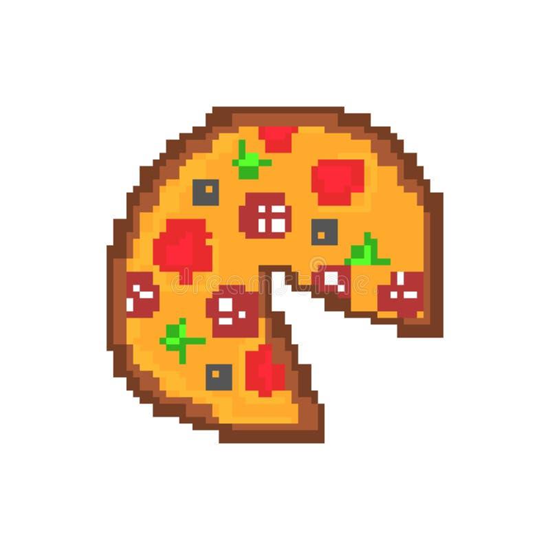 Pixel-Kunstillustration der Pizzaungesunden fertigkost lokalisierte stock abbildung
