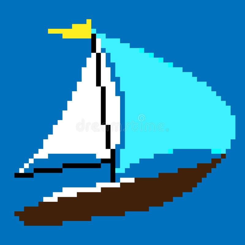 Pixel-Kunstsegelboot stock abbildung
