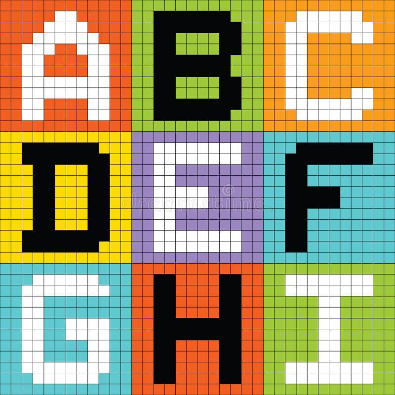 Pixel Letters Set 1: ABC DEF GHI. Letters of the alphabet depicted as pixel blocks vector illustration