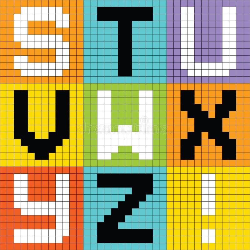 Free Pixel Letters Set 3: STU VW XYZ Royalty Free Stock Image - 27536666