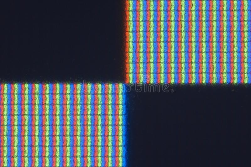 Pixel-level detail of real RGB LCD screen stock image