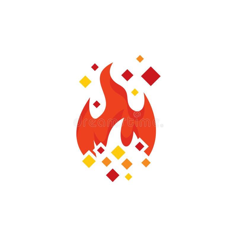 Pixel Logo Icon Design de brûlure illustration de vecteur
