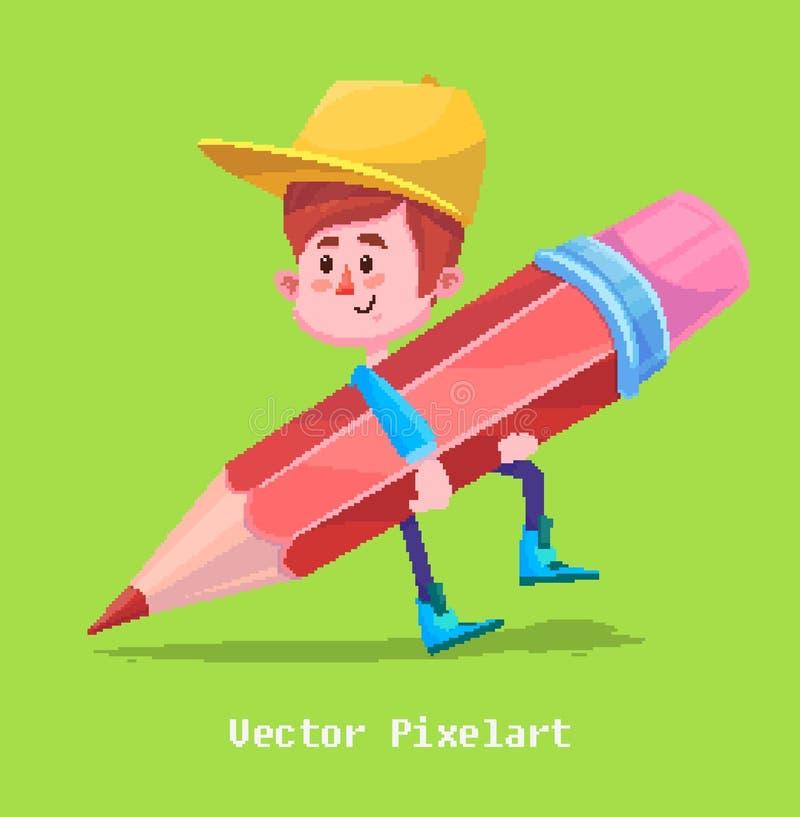 Pixel-lustiger Junge Auf gelbem Hintergrund Auch im corel abgehobenen Betrag vektor abbildung