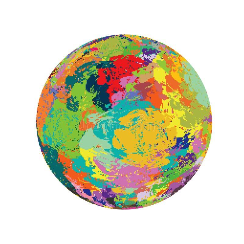 PIXEL målar bakgrund för konstverk för illustrationen för spektret för jordklotjord färgrik vektor illustrationer